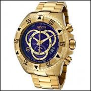 Relógio Invicta Excursion Dourado Fundo Azul