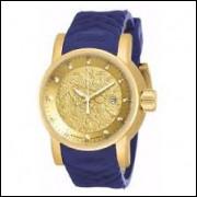 Relógio Yakuza Dragon Invicta 18215 Dourado Pulseira Azul