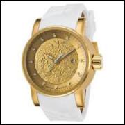 Relógio Yakuza Dragon Invicta 18215 Dourado Pulseira Branca