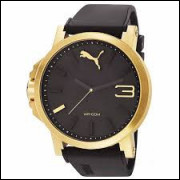 Relógio Puma Ultrasize Dourado pulseira preta